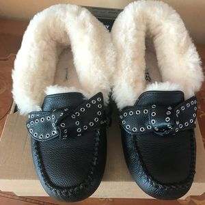 Ugg Poler Black Leather Slippers